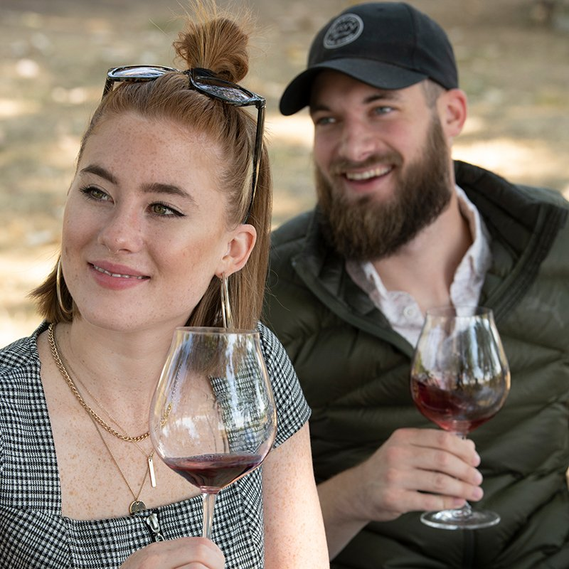 Couple Sipping Wine on a Private Heli Wine Tour