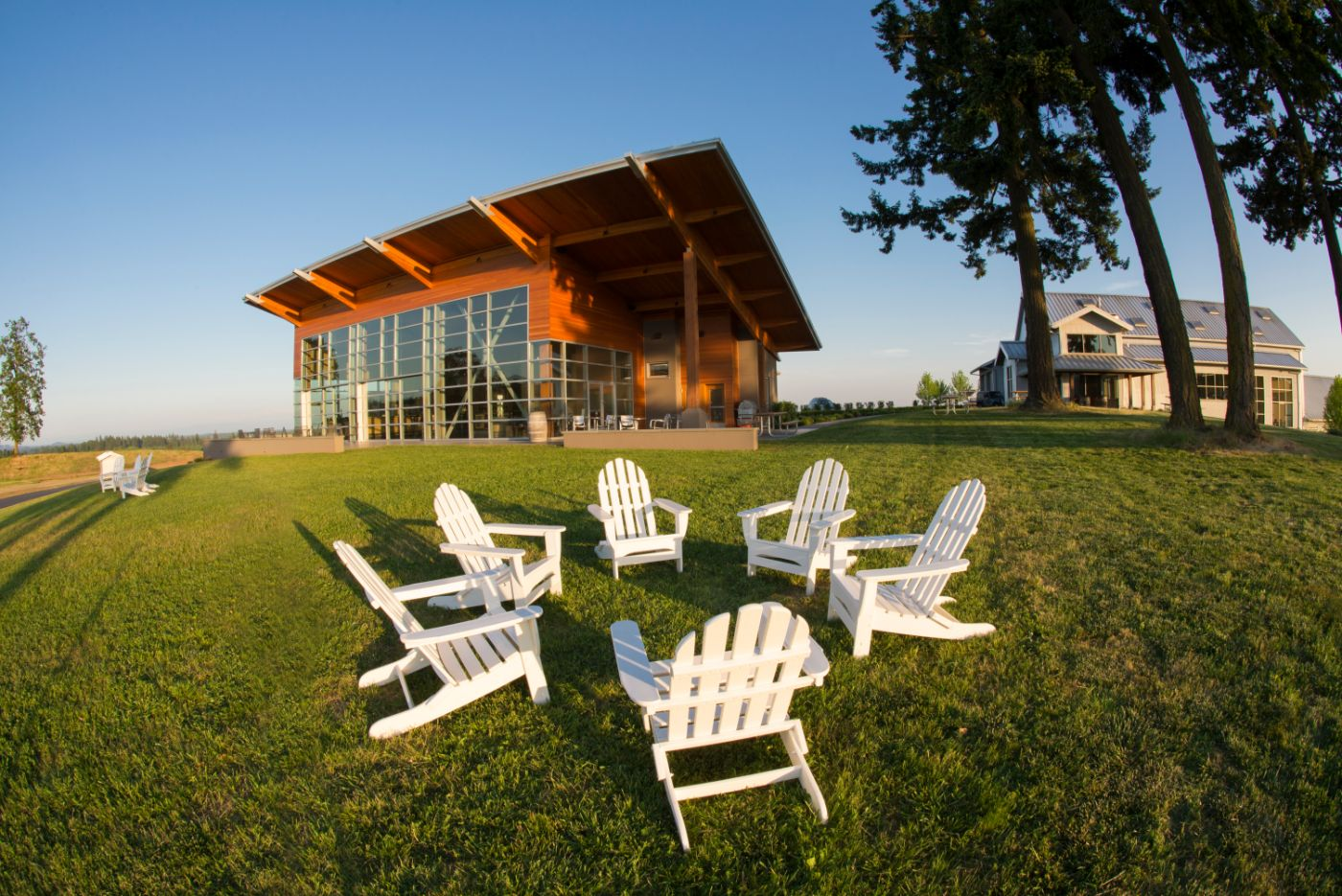 Chairs for outdoor wine tasting at Stoller Winery near Dundee Oregon