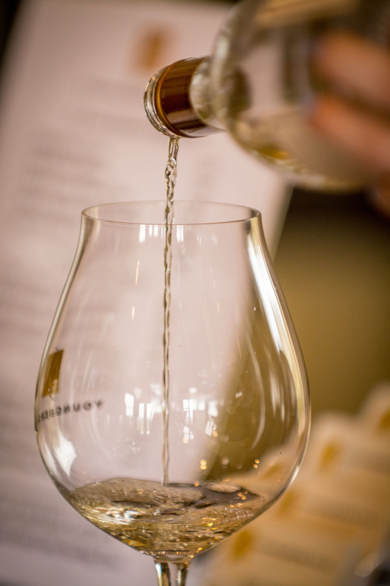White wine being poured at Youngberg Winery in Oregon